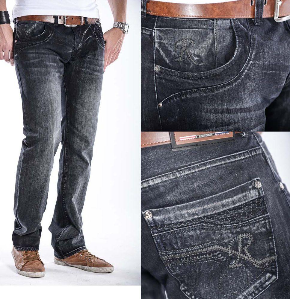 Rock Creek Herren Star Jeans Denim Hose schwarz W30-W40 ...