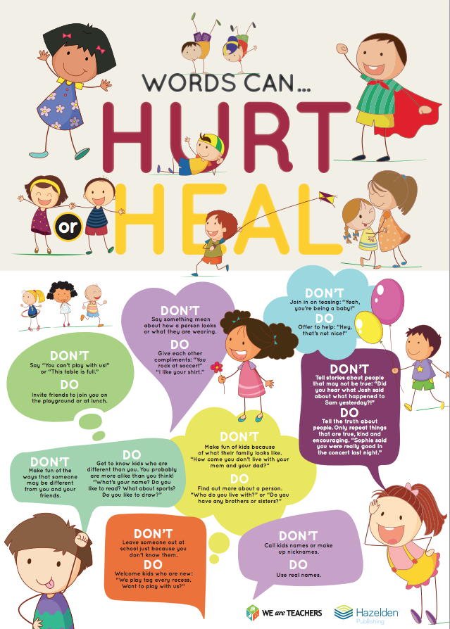 Great Poster That Teaches Kids About The Power Of WORDS To Build Friends Up