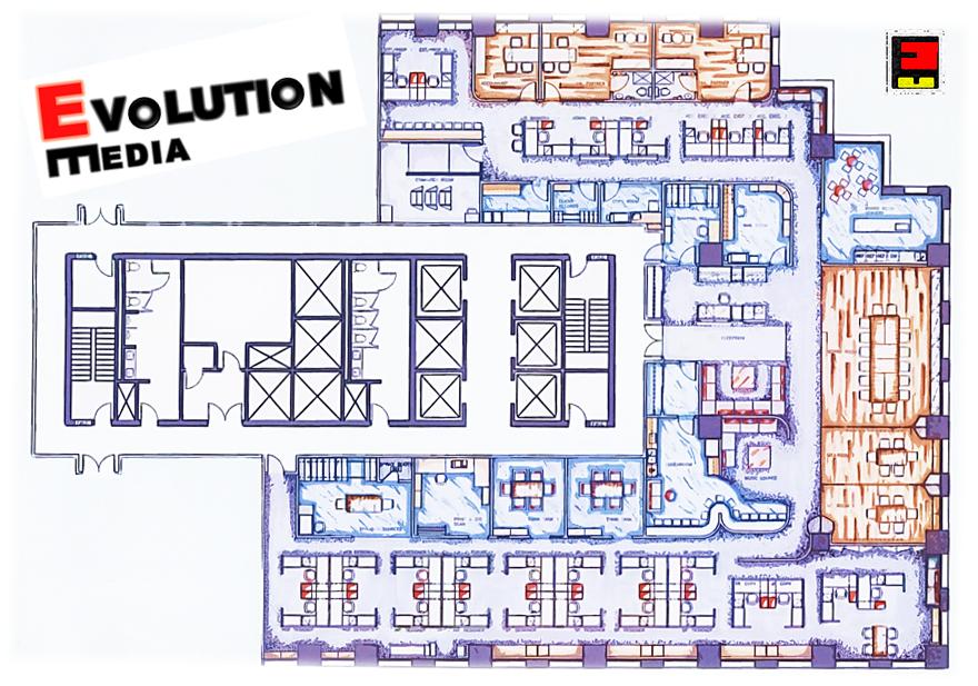 evolution media - graphic design office: rendered floor plan