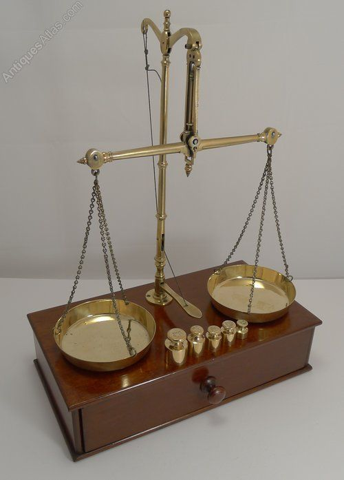 Apothecary Scales In Mahogany & Brass C.1880 | Apothecary ...
