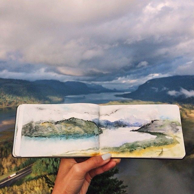 Watercolour Painting of Gorge by Hannah Jesus Koh on Instagram