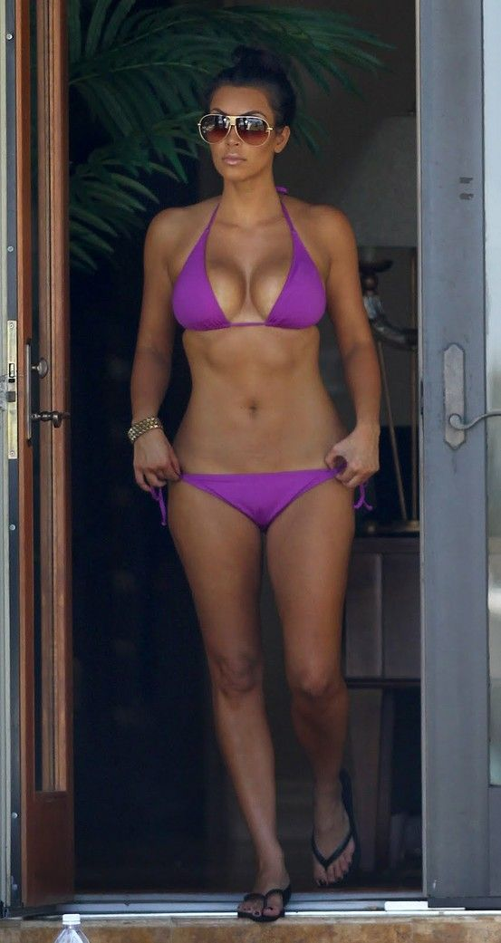 Kim kardashian in a purple bikini remarkable