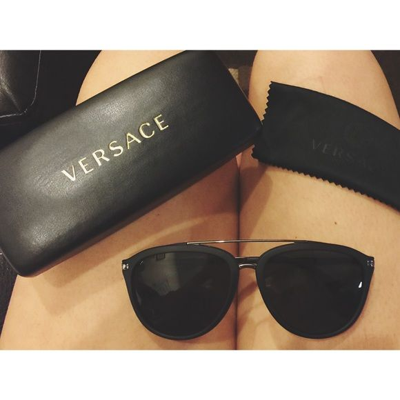 bd1d1a474a0a Versace Matte Black Aviators ❤ Authentic Versace from the Las Vegas store.  Worn literally twice. Comes w case and cloth too!