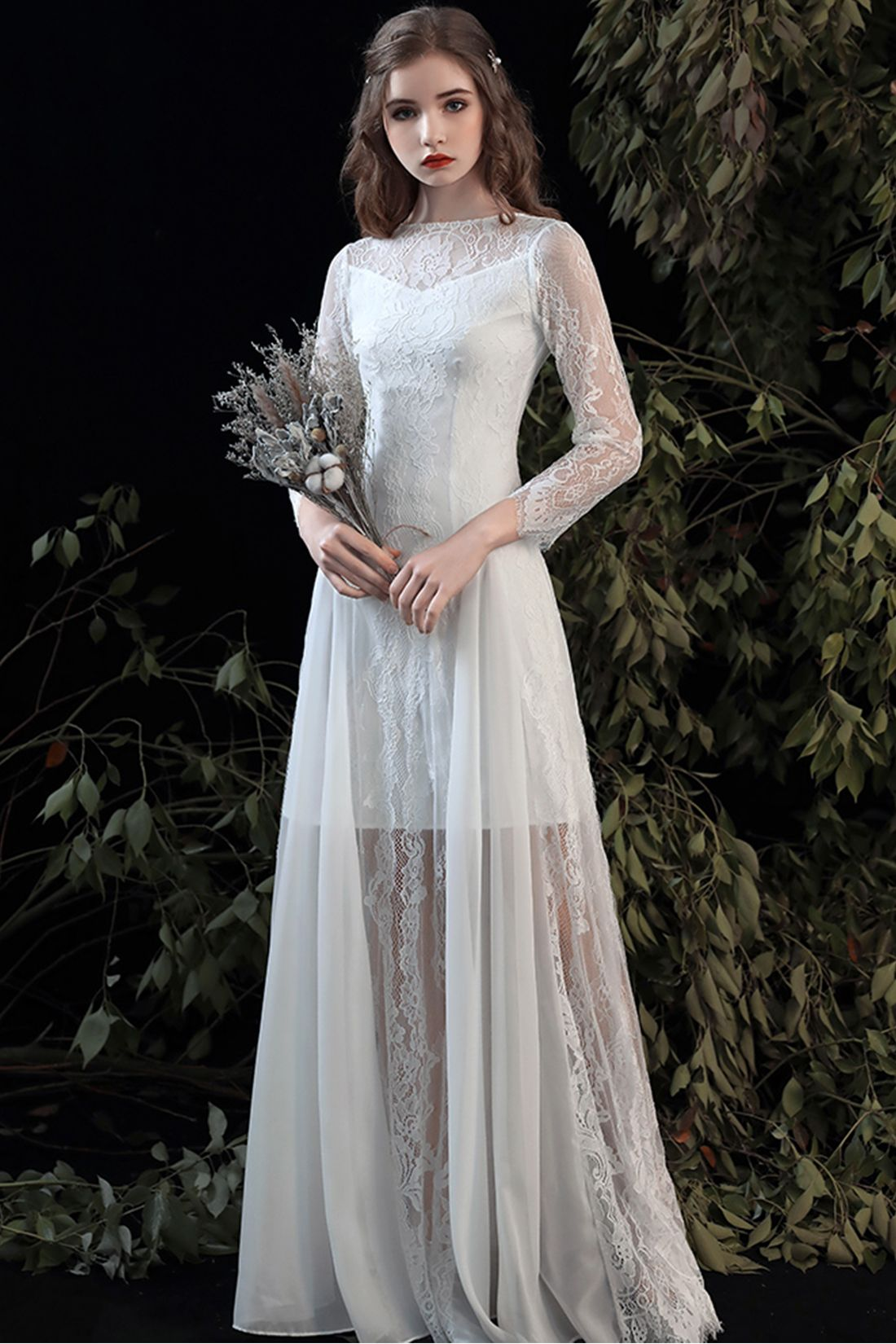 Illusion Neck Long Sleeve Lace Casual Wedding Dress with