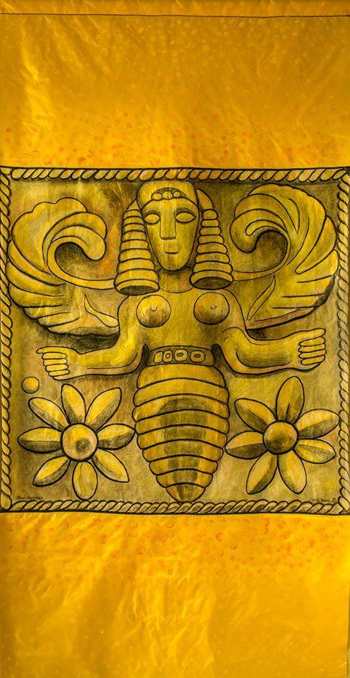 The emblem of Potnia, the Minoan-Mycenaean Mistress, is a