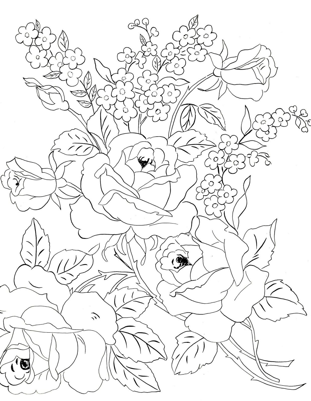 Two More Of These Lovely Embroidery Patterns From Flower Designs By Jane Snead Flower Coloring Pages Fabric Painting Coloring Pages