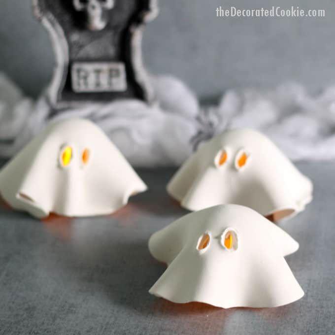 air dry clay ghost tea lights -- fun and easy Halloween decor idea - good halloween decoration ideas
