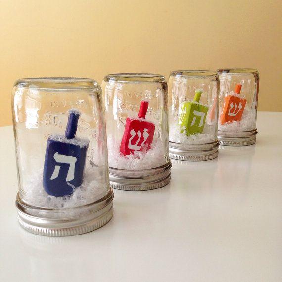frosty dreidel mason jar hanukkah decoration - Hanukkah Decorations