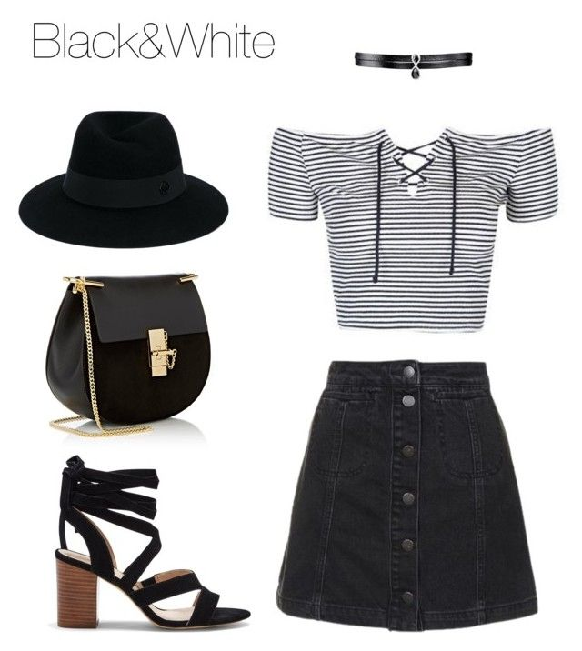 """""""Black&White🐼"""" by pgha on Polyvore featuring moda, Topshop, Sole Society, Chloé, Fallon y Maison Michel"""