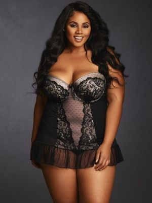 Plus Size Lace Overlay Chemise (E, F, G Cups), Black and Blush ...