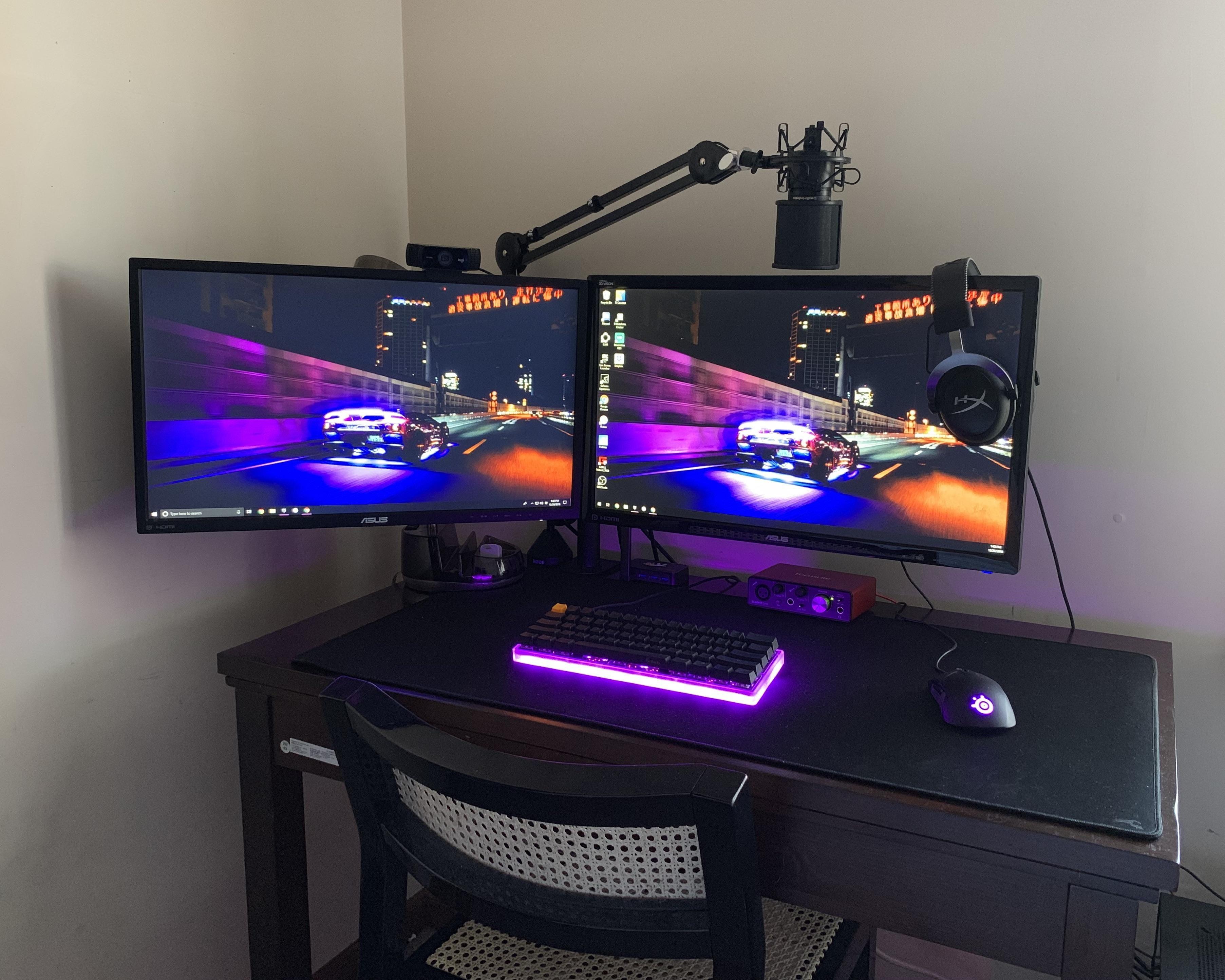 Current Completed Setup Gaming Room Setup Video Game Rooms Computer Desk Setup
