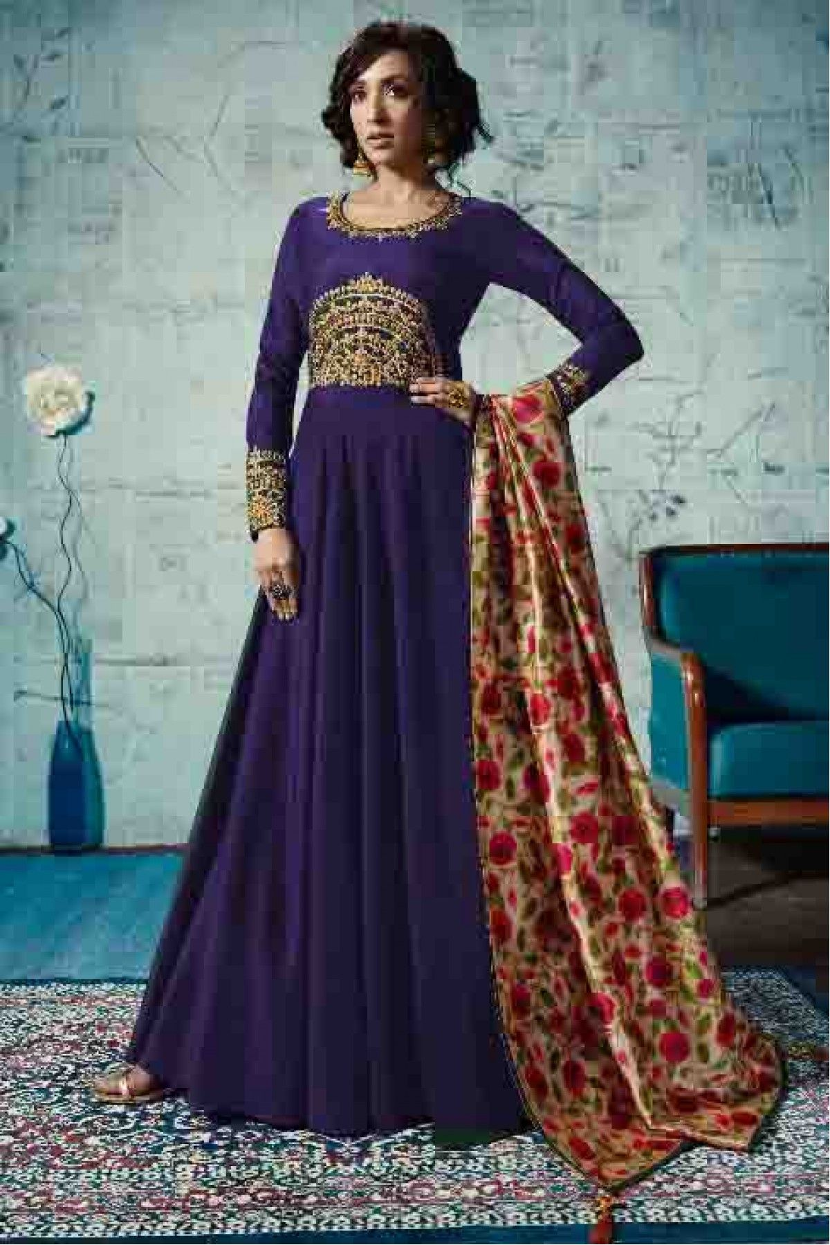 9ba4936df5374 Satin Taffeta Embroidered Anarkali Suit In Blue Colour | Bibis ...