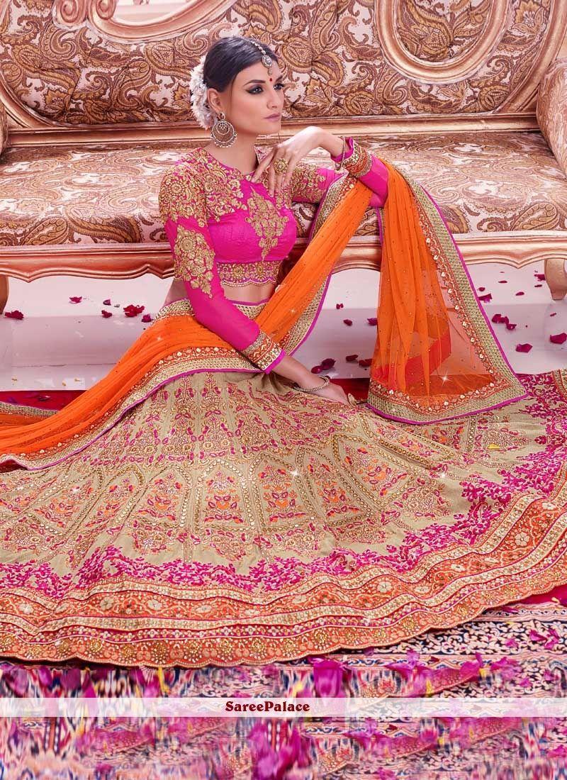 Lovable Orange And Magenta Embroidered Designer Lehenga Choli ...