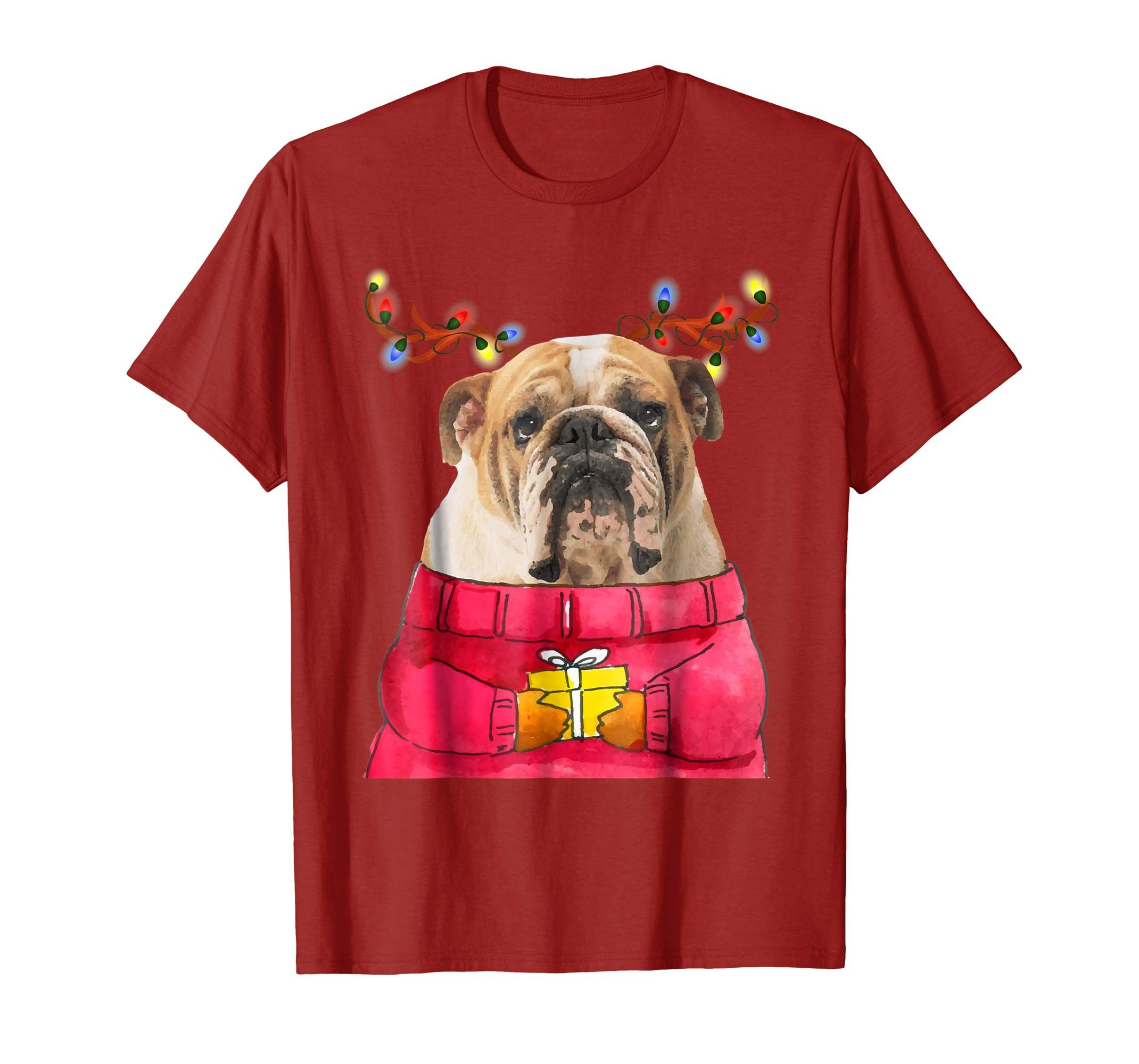 eeb2878ad Cutest Dog Lover Gift Shirt for Xmas! Christmas Dog Gift Bulldog Reindeer Antlers  Xmas Shirt