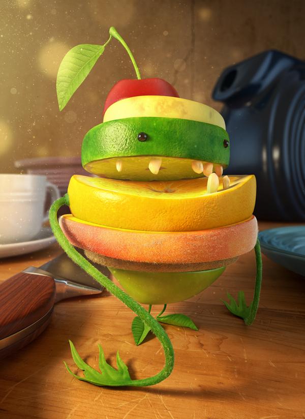 Fruitenstein by Peter Mai, via BehanceSOFTWARE: Pixologic Zbrush