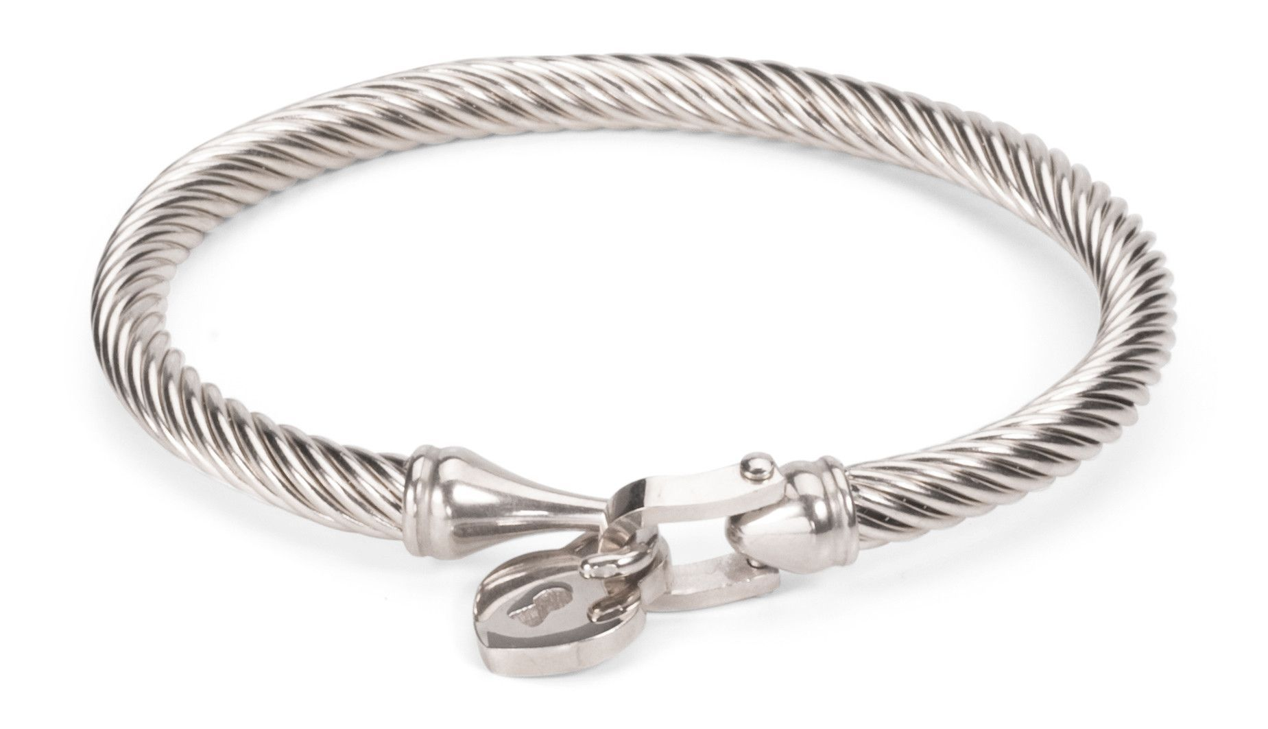 Heart Charm Bracelet with Cable Band Gold & Silver