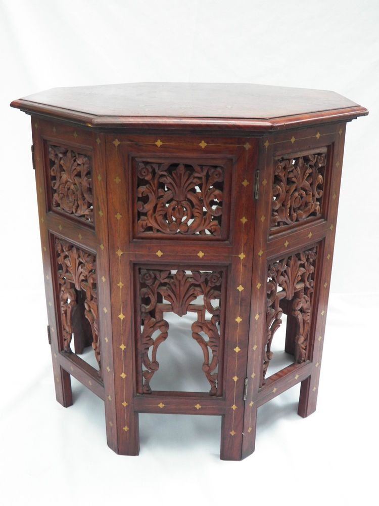 Moorish Carved Wood Table Inlaid Brass Copper Taboret Side