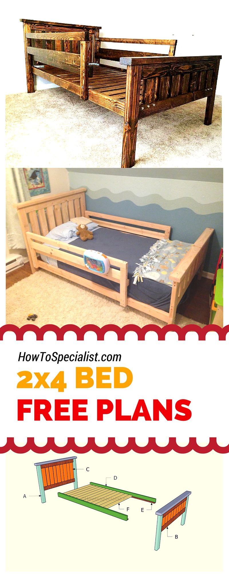 2 4 Bed Plans Diy Toddler Bed Diy Bed Frame Diy Bed