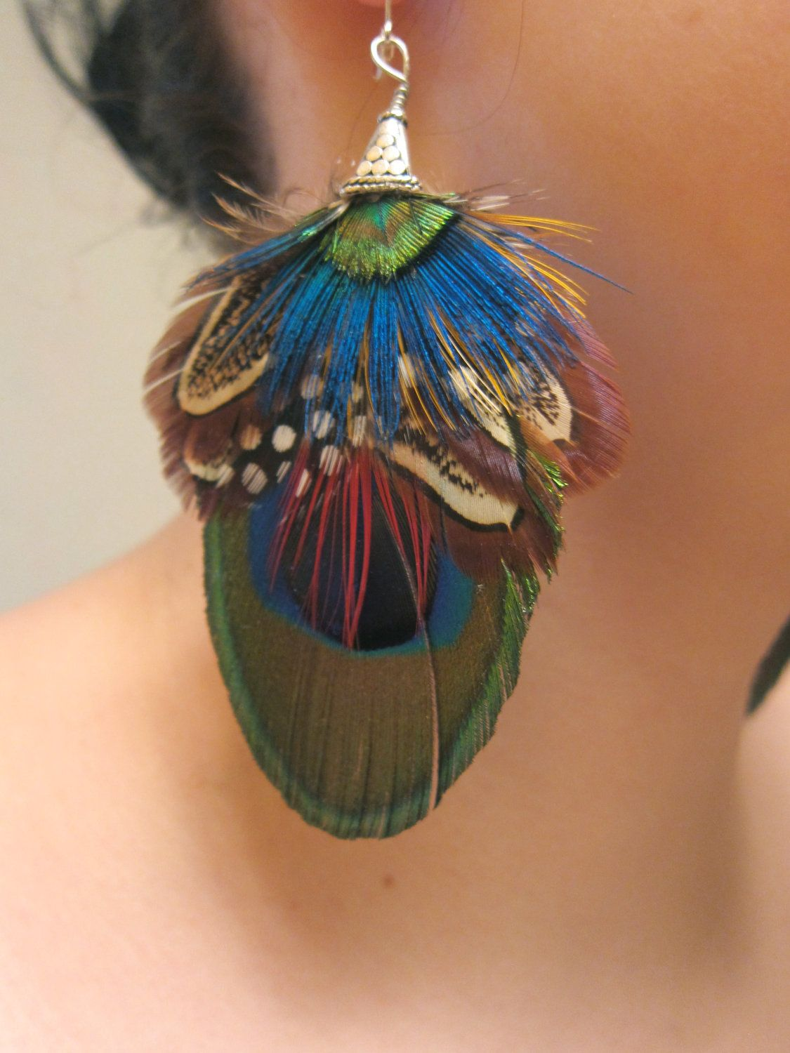 "Pair Peacock Feather Earrings 6/"" Womens Girls Ladies Costume Jewellery Drop Hang"