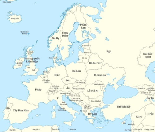 Vietnamese country names of Europe and surrounding areas ...