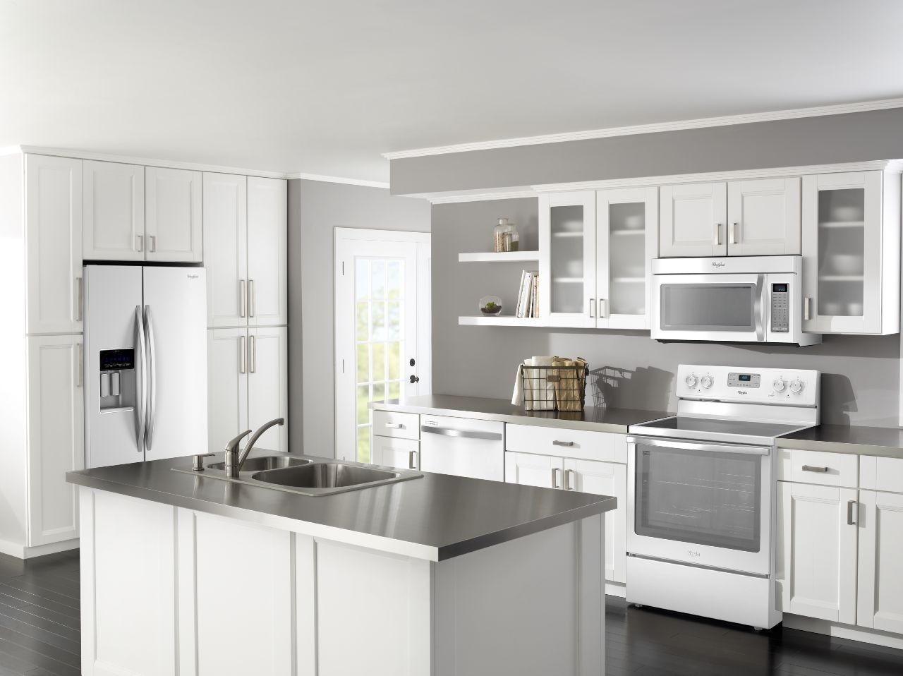 Kitchen:White Wooden Kitchen Furnitures With White Wooden Kitchen Cabinets  Completed With Oven Also Rice