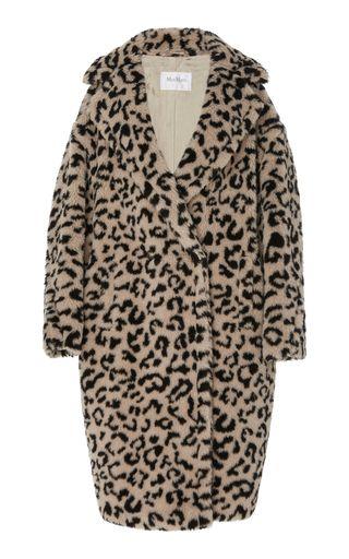 Edy Oversized Leopard-Print Faux Shearling Coat in animal