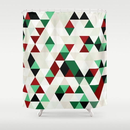 Christmas Red Green Black White Cream Shower Curtain