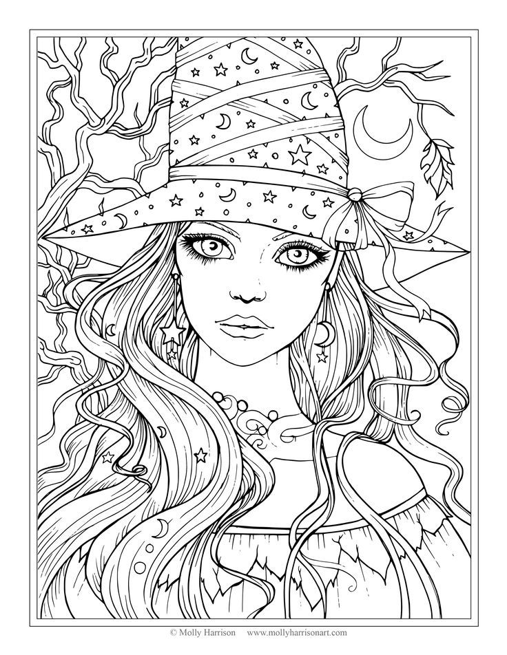 Free Witch Coloring Page Halloween Coloring Pages by Molly Harrison