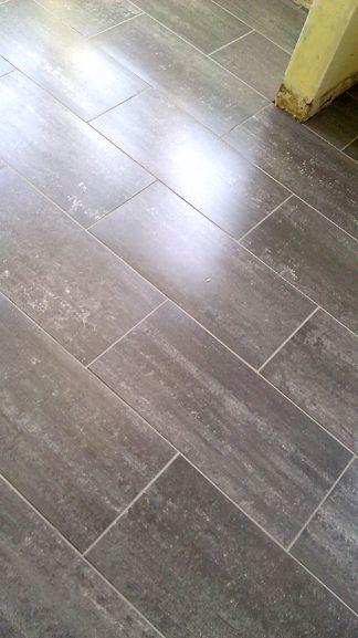 Grey Porcelain Rectangle Floor Tiles Throughout Main Living Area And Kitchen Flooring Kitchen Flooring Tile Floor