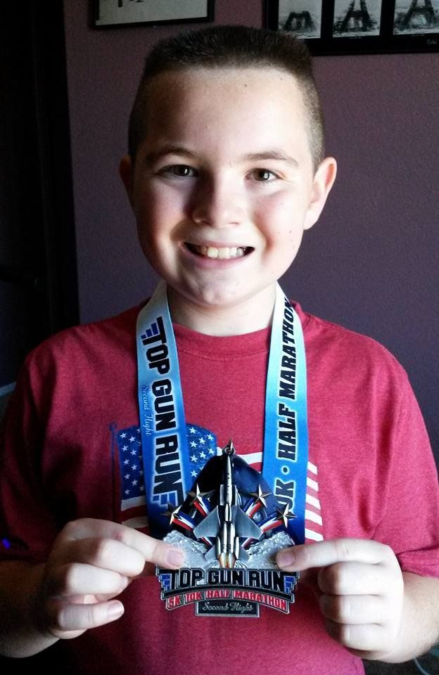 EJ did his 5k Virtual race for the Top Gun, Second Run Medal (all they had left was 1 2014 medal)! #willrunforbling