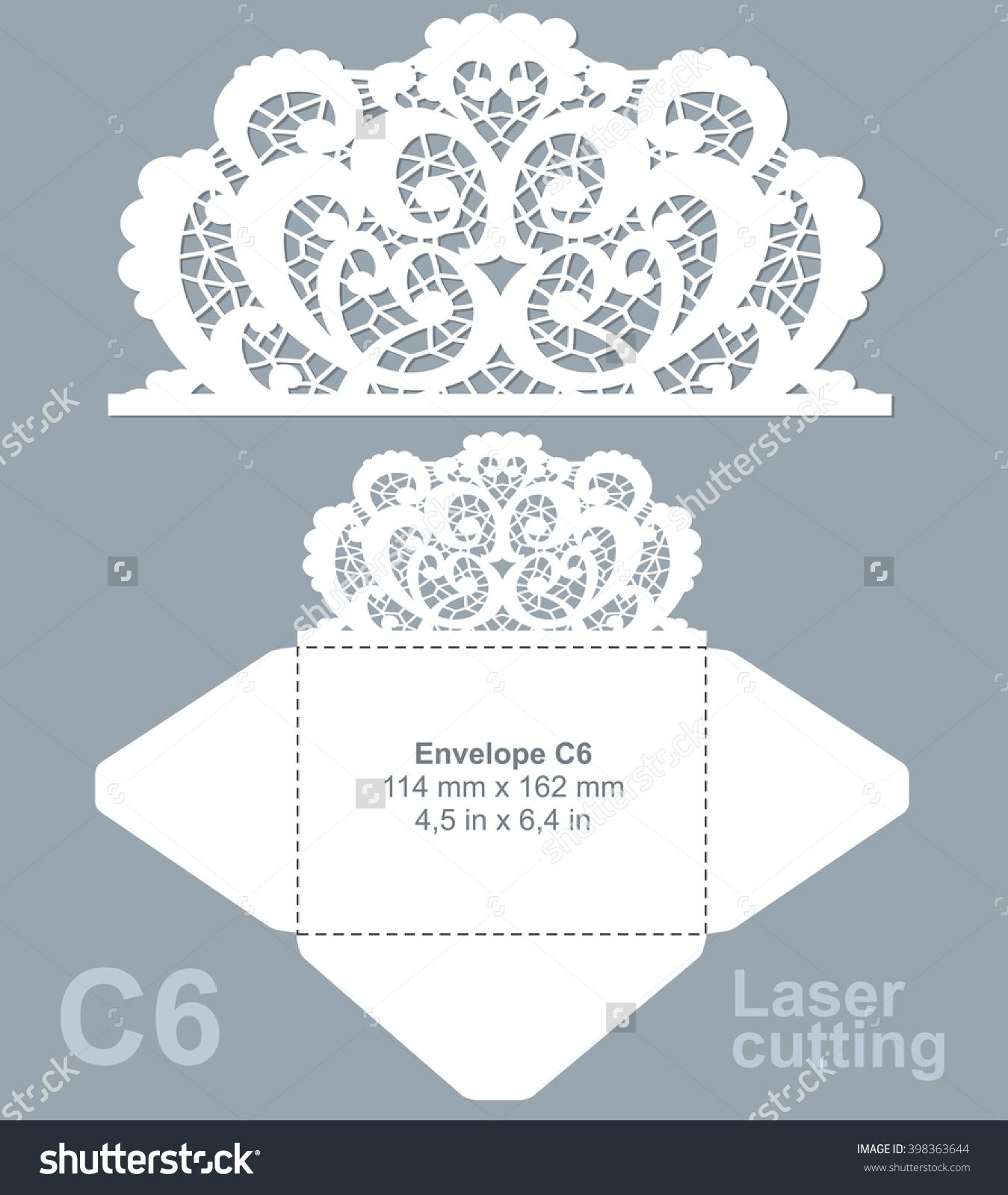 Vector die laser cut envelope template. Invitation envelope C6 ...