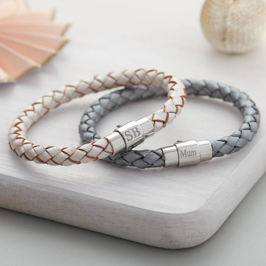 6a07e121b Personalised Clasp Plaited Leather Bracelet $41 – Stylish leather and  stainless steel bracelet with custom initials.