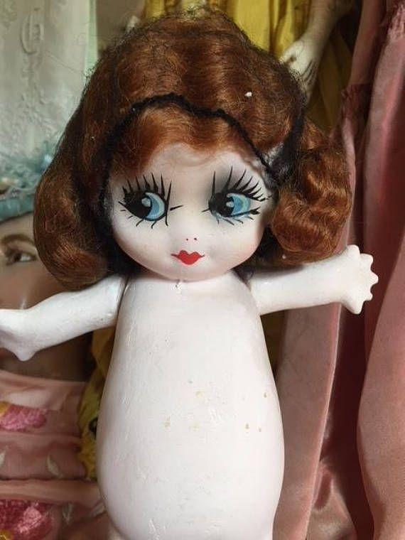 Vintage Carnival Chalkware Kewpie Doll Lamp Flapper Deco ...