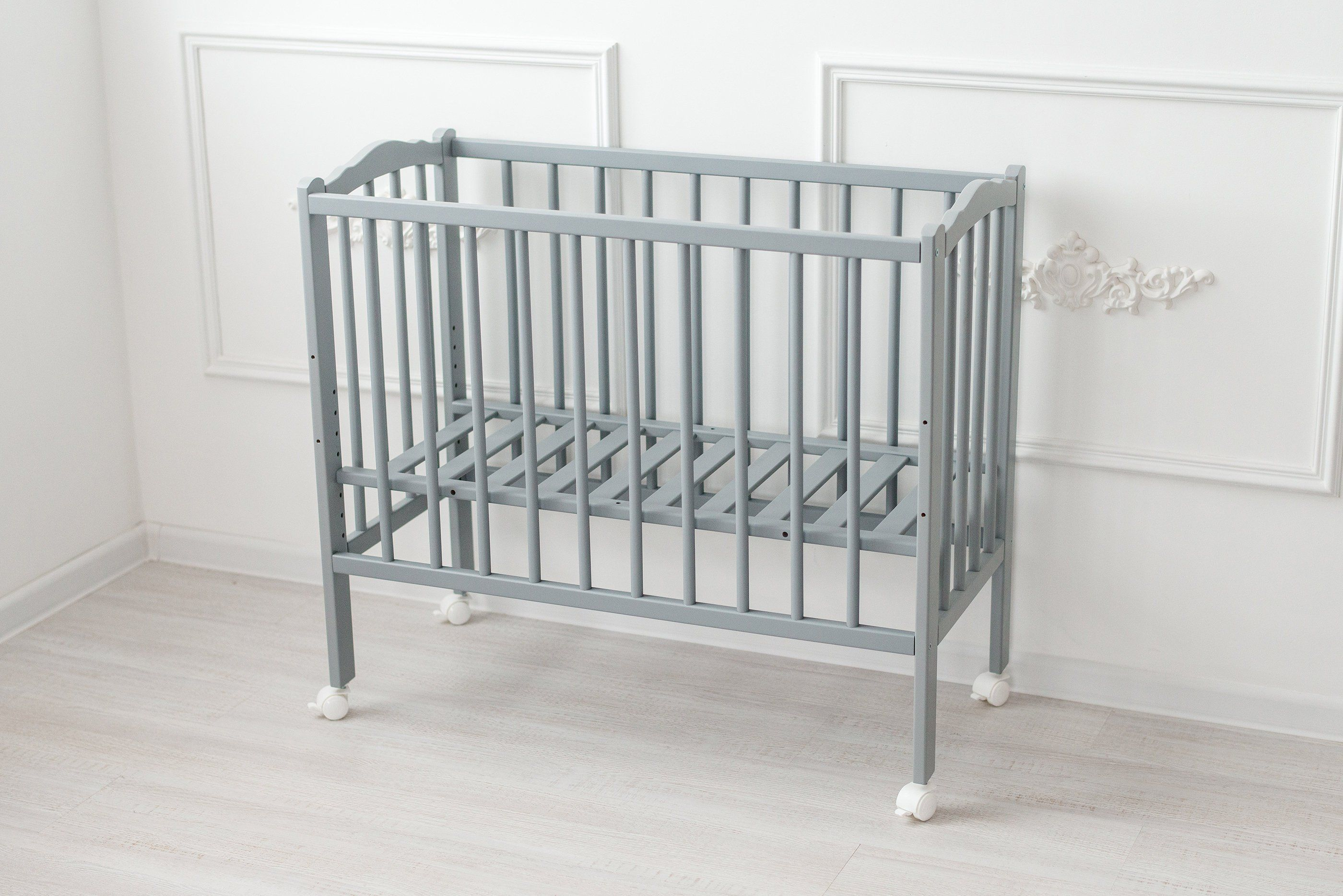 Baby Beistellbettchen Baby Side Bed 2in1 Plus Solid Wood Beech Wood Colour Grey