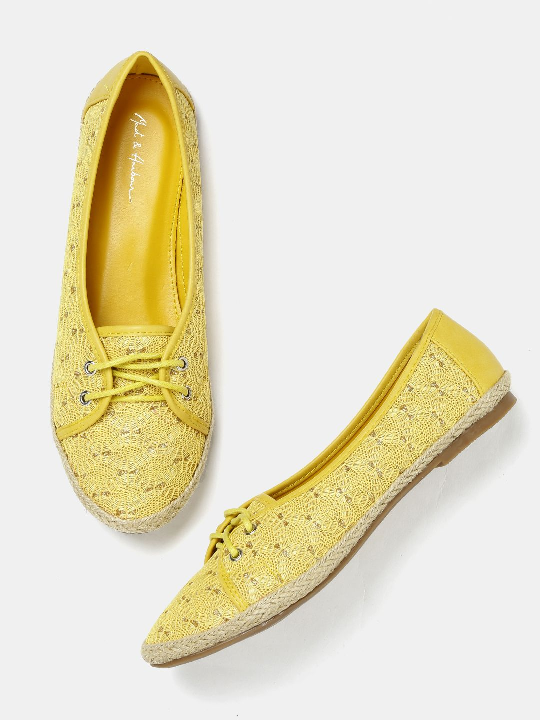 0422ac409f74a Mast   Harbour Women Yellow Woven Flat Shoes  Yellow laceup Casual Synthetic