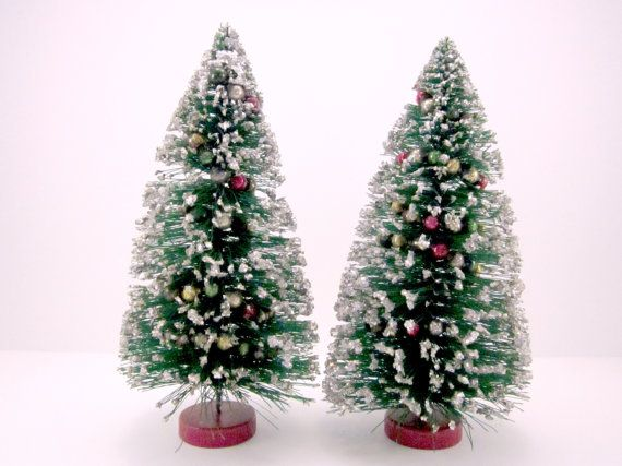 Vintage Bottle Brush Trees With Mercury Glass Beads And Glitter