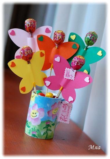 Букеты из конфет - Бабочки летают, бабочки