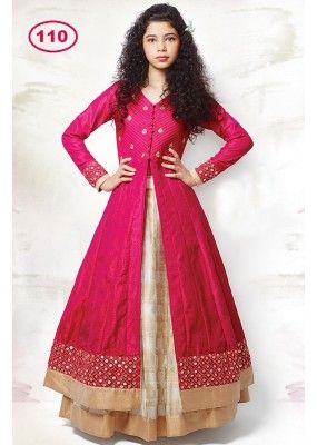 d7d0764760 Kids Wear Girl Pink Indo Western Lehenga Suit - KDS110 | Storeadda ...