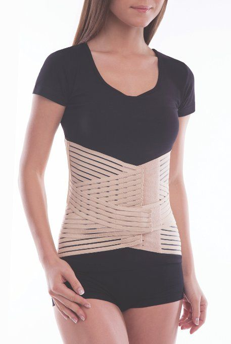 12962615844 Breathable Lumbar Support Brace Belt - Lower Back Pain Relief - Relieves  Lumbo-Sacral Spinal Compression - Beige