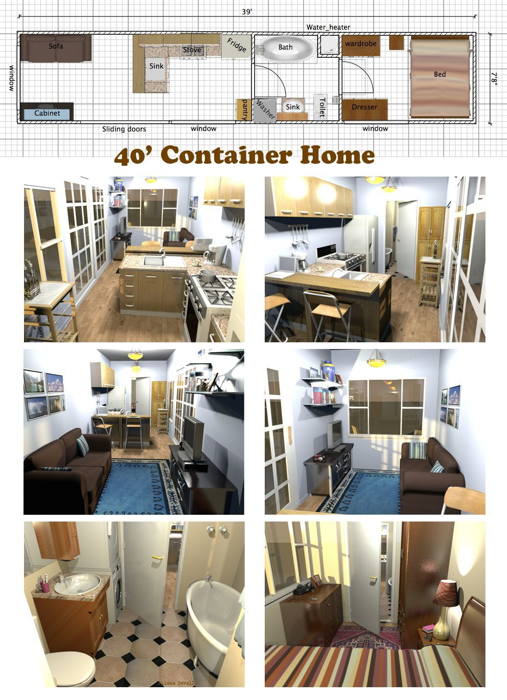 A Very Space Efficient Floor Plan For A Container Home Container Tiny House Container House Building A Container Home Container House Plans