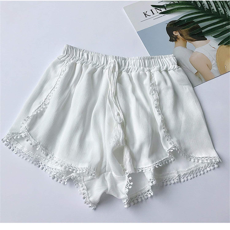 Summer Newest Style Vintage Elastic High Waist Chiffon Shorts Women Casual Shorts Boho Trousers Girls Short