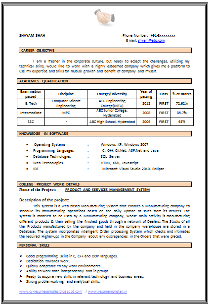 Example Of Cv Templates Resume Format For Freshers Job Resume Format Downloadable Resume Template