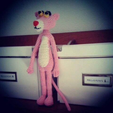 Pantera rosa....agasallo do apalpador. Patrón totalmente modificado.