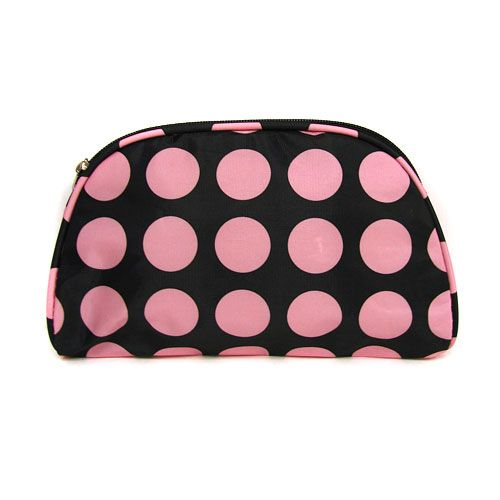 Polka Dot Black Pink Cosmetic Bag