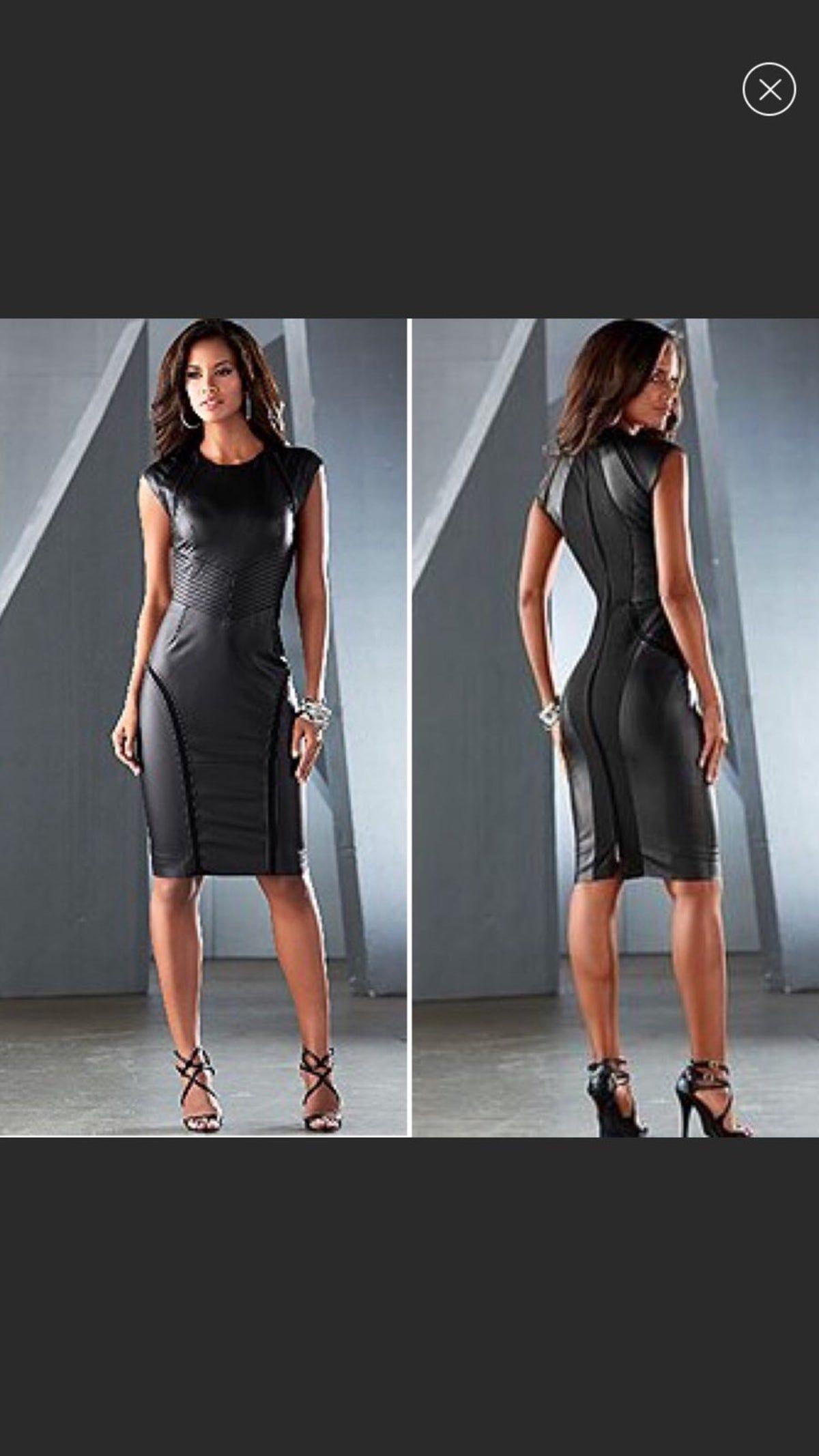 Venus Black Faux Leather Sheath Dress Bodycon Dress Dresses Sheath Dress [ 2133 x 1200 Pixel ]