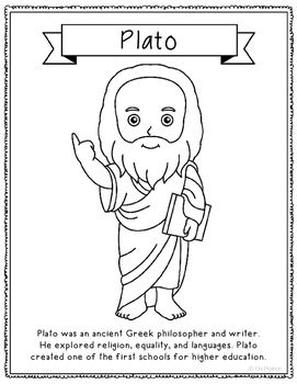 Plato Coloring Page Craft or Poster with Mini Biography
