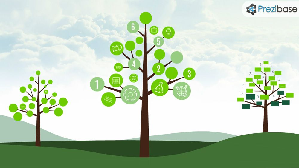 Creative tree diagram chart graph leafs nature prezi presentation - tree diagram template