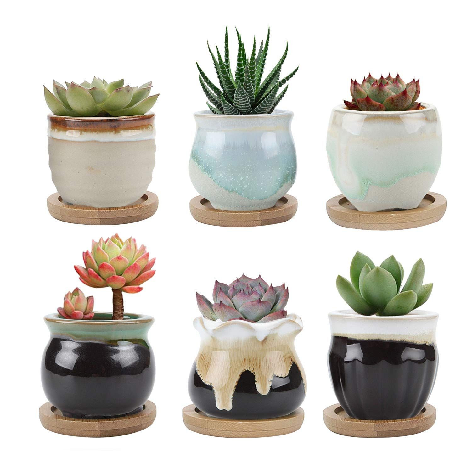 T4U 4 Inch Ceramic Wall Planter Pot Set of 4, Black Round Wall Mounted Air Plant Cactus Herb Container for Gardening Home and Office Decoration Birthday Wedding Gift