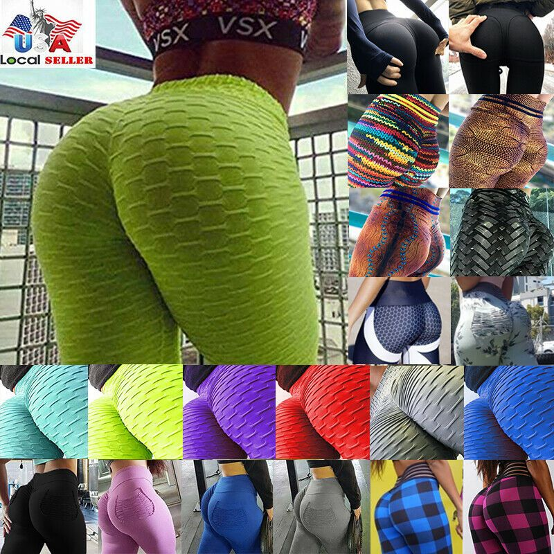 Women Ruched Push Up Leggings Anti-Cellulite High Waist Yoga Pants Sport Workout