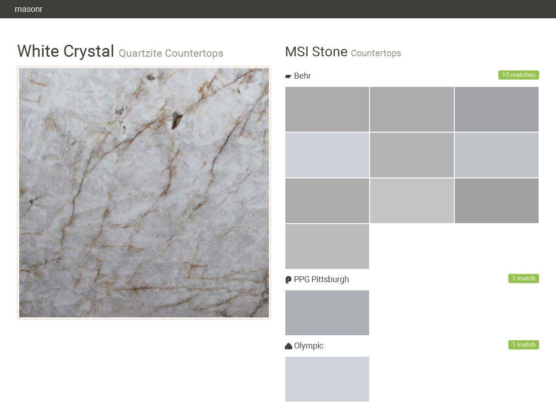 White Crystal. Quartzite Countertops. Countertops. MSI Stone. Behr. PPG  Pittsburgh.